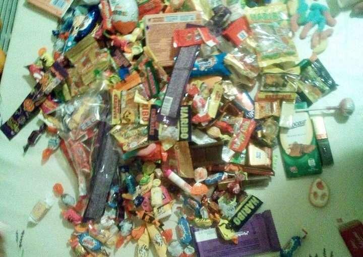 Halloween Süßigkeiten ausbeute
