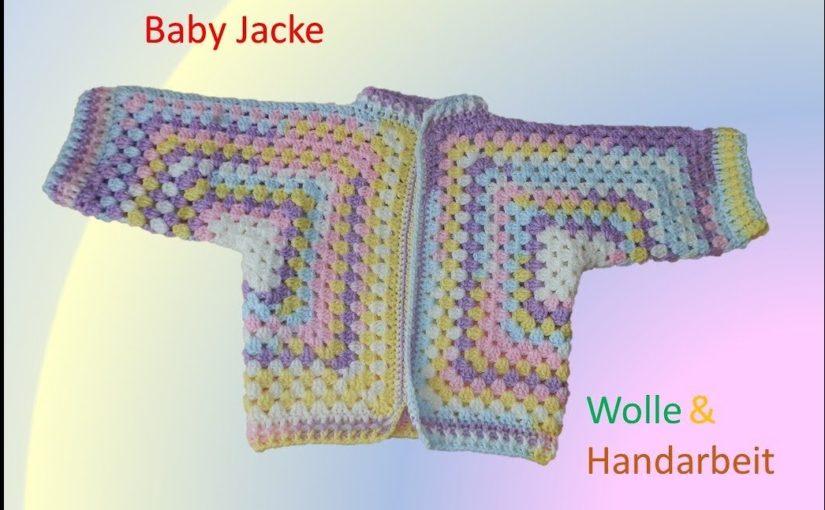 Baby Jacke aus zwei Sechsecks Grannys häkeln